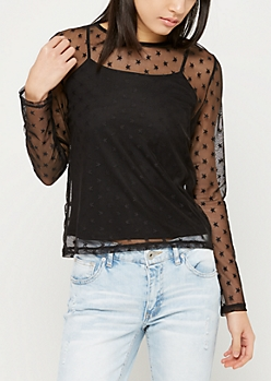 Black Star Print Cami & Mesh Top