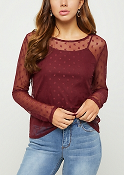 Burgundy Star Print Cami & Mesh Top