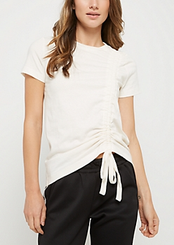 Ivory Drawstring Ruched Tee