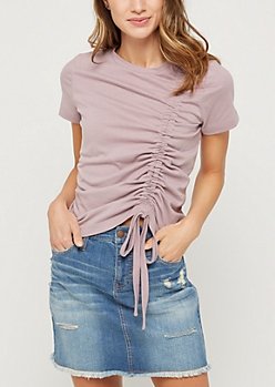 Light Purple Drawstring Ruched Tee