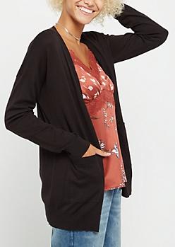 Black Drop Shoulder Cardigan