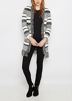 Black Striped Fringed Open Front Wrap