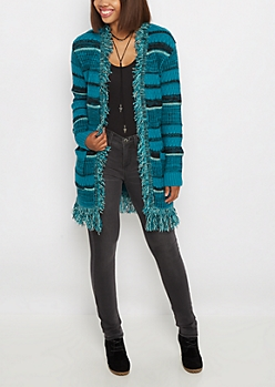 Blue Striped Fringed Open Front Wrap