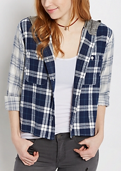 Plaid Hooded Challis Shirt By Sadie Robertson X Wild Blue