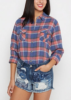Washed Plaid Button Down By Sadie Robertson x Wild Blue