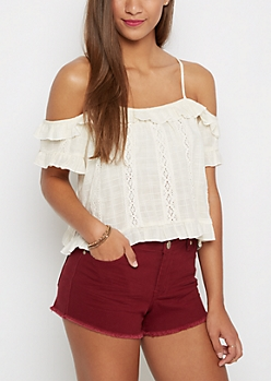 Ruffled Cold Shoulder Top By Wild Blue x Sadie Robertson™