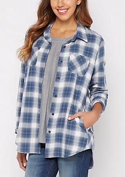 Navy Plaid Oversized Shirt By Sadie Roberston X Wild Blue®