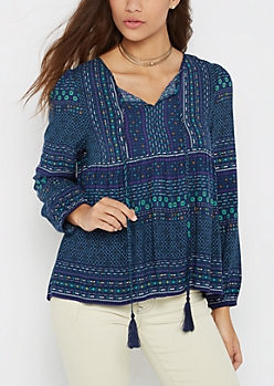 Tribal Peasant Top by Sadie Robertson x Wild Blue