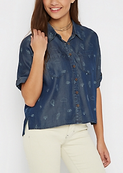 Wanderlust Chambray Top By Sadie Robertson X Wild Blue
