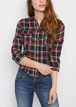 Frayed Plaid Shirt By Sadie Robertson X Wild Blue