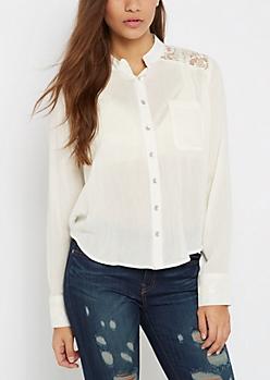 Ivory Gauze Shirt By Sadie Robertson X Wild Blue