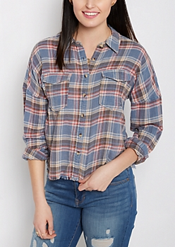 Frayed & Cropped Plaid Shirt by Sadie Robertson x Wild Blue