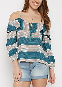 Striped Flounce Cold Shoulder By Sadie Robertson X Wild Blue