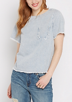 Striped & Frayed Denim Shirt By Sadie Robertson X Wild Blue