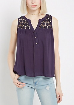 Crochet Medallion Tank Top  By Sadie Robertson X Wild Blue