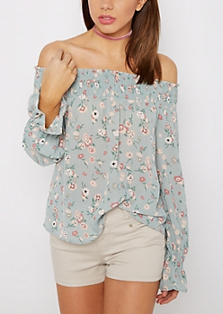 Floral Smocked Off-Shoulder Top By Sadie Robertson X Wild Blue