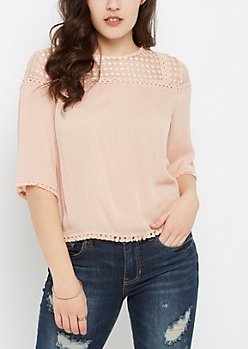 Lace Yoke Babydoll Top by Sadie Robertson x Wild Blue