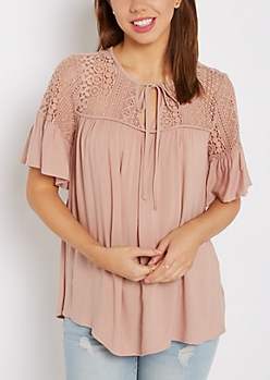 Lace Ruffled Babydoll Top by Sadie Robertson x Wild Blue