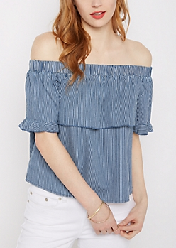 Striped Denim Off-Shoulder Shirt By Sadie Robertson X Wild Blue