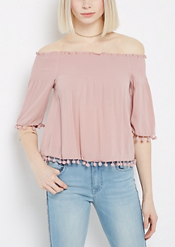 Pom Pom Off-Shoulder Top By Sadie Robertson X Wild Blue