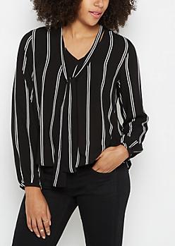 Striped Tie Front Shirt by Sadie Robertson x Wild Blue
