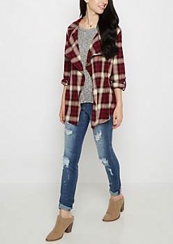 Burgundy Plaid Wrap Shirt by Sadie Robertson x Wild Blue