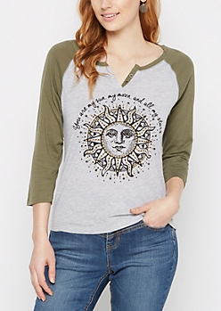 You Are My Sun Baseball Henley