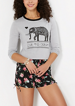 Elephant Love Long Sleeve Crop Top