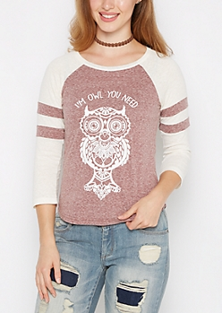 Owl You Need Is Love Baseball Tee