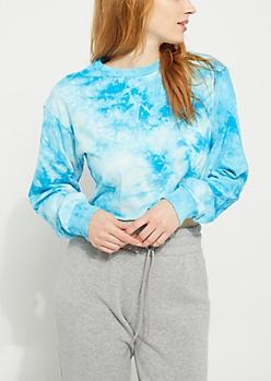 Turquoise Tie Dye Crop Tee