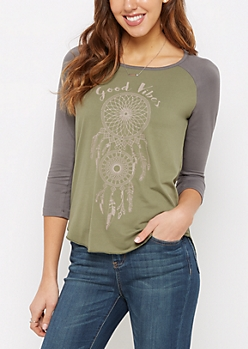 Good Vibes Dreamcatcher Brushed Baseball Tee
