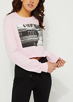 Pink Car Crop Tee