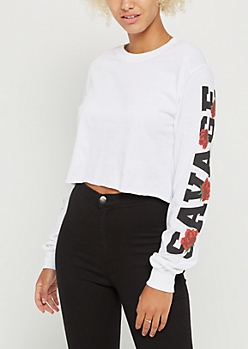 Savage Rose Long Sleeve Crop Top