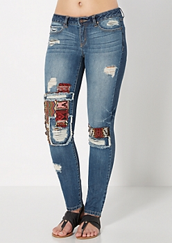 Medium Blue Tribal Patched Destroyed Skinny Jean