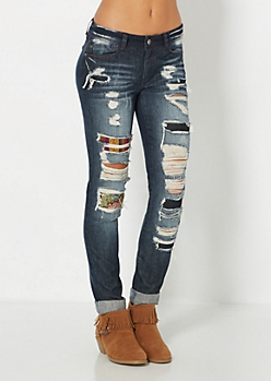 Destroyed & Patched Skinny Jean