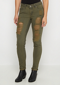Green Destroyed Skinny Jean