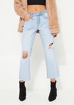 Vintage Destructed High Rise Ankle Straight Leg Jeans in Regular