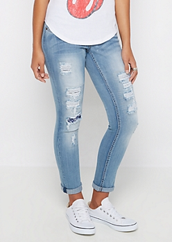Flex Light Destroyed & Stitched Skinny Jean
