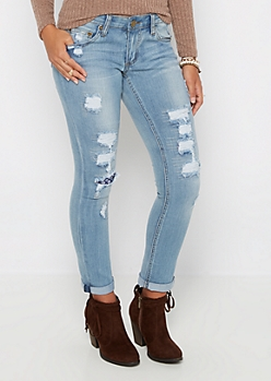 Flex Destroyed & Stitched Skinny Jean