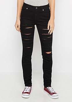 Flex Black Destroyed High Waist Skinny Jean
