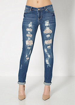 Sequined Glam Ripped Skinny Jean