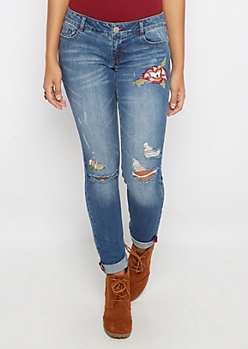 Flex Floral Distressed Skinny Jean
