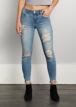 Destroyed Mid Rise Ankle Jegging in Regular
