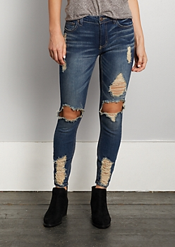 Dark Blue Destroyed Ankle Jegging