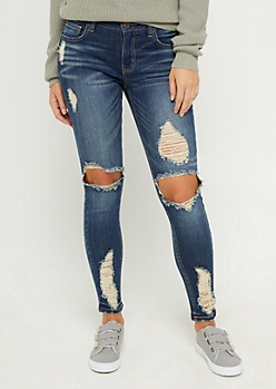 Light Blue Distressed Ankle Jegging in Regular