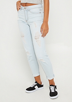 Light Blue Distressed High Waist Jean