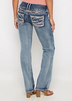 Flex Golden Sequined Slim Boot Jean