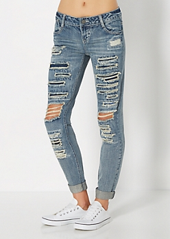 Destroyed Rolled Cuff Skinny Jean