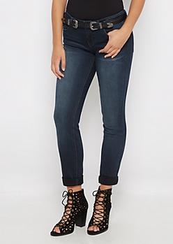 Flex Double Buckle Belted Skinny Jean