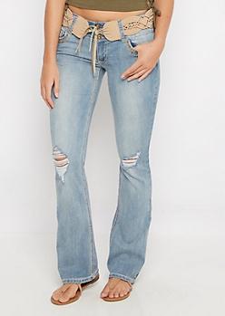 Flex Braided Belt Vintage Slim Boot Jean